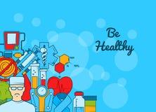 Vektorn färgade sockersjukasymboler på rengöringsdukbanret för sjukhus vektor illustrationer