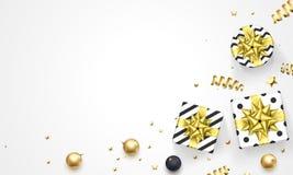 Vektorn för bakgrund för garnering för gåvan för kortet för hälsningen för det nya året för jul blänker den guld- mallen royaltyfri illustrationer