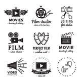 Vektorn för film-, film- och videologotappning ställde in Hipster och retro stil Arkivbild