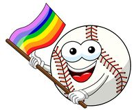 Vektorn för flaggan för regnbågen för fred för tecknade filmen för maskot för baseballbollteckenet isolerade vektor illustrationer