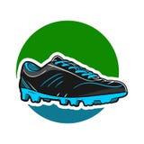 Vektorn för fotboll för skobakgrundsgräsplan lämnade rätt royaltyfri illustrationer