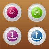 Vektorn för fyra knappar med räddningtrycket laddar upp och nedladdar Arkivbild