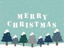Vektorn för glad jul med sörjer trädet vektor illustrationer