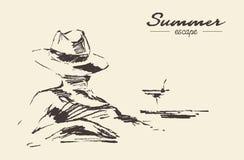 Vektorn för kvinnan för sommarsemestern drog skissar stranden vektor illustrationer