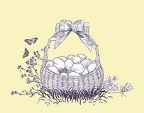 Vektorn för påskkorgägg inristar det isolerade kortet royaltyfri illustrationer