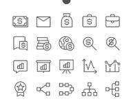 Vektorn för PIXELet för affären UI Brunn-tillverkade fodrar den Perfect thin symboler 48x48 som är klara för rastret 24x24 för re Fotografering för Bildbyråer
