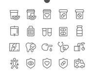 Vektorn för PIXELet för hjärta UI Brunn-tillverkade fodrar den Perfect thin symboler 48x48 som är klara för rastret 24x24 för ren Royaltyfri Bild