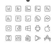 Vektorn för PIXELet för logoer UI Brunn-tillverkade fodrar den Perfect thin symboler 48x48 som är klara för rastret 24x24 för ren royaltyfri illustrationer