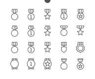 Vektorn för PIXELet för utmärkelser UI Brunn-tillverkade fodrar den Perfect thin symboler 48x48 som är klara för rastret 24x24 fö Royaltyfri Foto
