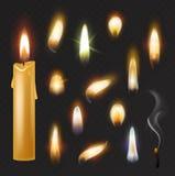 Vektorn för stearinljusflamman avfyrade att flamma den ljusa brännheta flamy realistiska uppsättningen för levande ljus och för d stock illustrationer