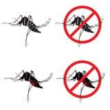 Vektorn för symboler för mygga- och stoppmyggatecknet planlägger Arkivbild