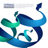 Vektorn för tecknet för abstrakt begrepp för blått- och gräsplanvårpilen planlägger vektor illustrationer