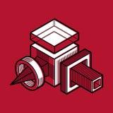 vektorn för teknik 3D, abstrakt form gjorde genom att använda kuber och geome Fotografering för Bildbyråer