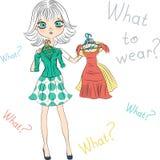 Vektorn förvånade modellen för modeflickaöverkanten som försöker på klänningar Royaltyfri Bild