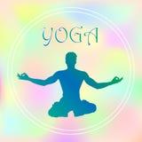 Vektorn hand-dragen yoga poserar med i olika balansera positioner av bönen, och meditationen i lotusblomma poserar hälsa och kond Royaltyfria Bilder
