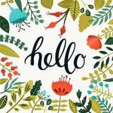 Vektorn Hello card Royaltyfri Fotografi