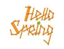 Vektorn Hello fjädrar bokstäver från små plankor, och barnet förgrena sig Vektor Illustrationer