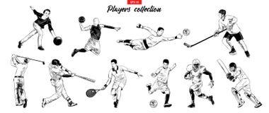 Vektorn inristade stilillustrationer för affischer, logo, emblem och emblem Den drog handen skissar ställde in av sportspelare stock illustrationer
