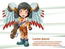 Vektorn isolerade cyborgen bär hans vapen med hans vinge royaltyfri illustrationer
