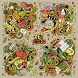 Vektorn klottrar tecknad filmuppsättningen av Diet matkombinationer av objekt och beståndsdelar Royaltyfri Bild