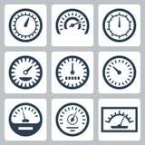 Vektorn mäter symbolsuppsättningen Arkivbild