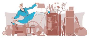 Vektorn mannen och katten flyttar sig runt om ett belamrat hus vektor illustrationer