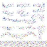 Vektorn noterar symfonin för handstil för text för melodi för symboler för musikern för musikmelodicolorfull royaltyfri illustrationer