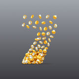 Vektorn nummer 7 gjorde av fyllnads- tecken för mynt Lätt att redigera Arkivfoton