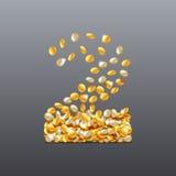 Vektorn nummer 2 gjorde av fyllnads- tecken för mynt Lätt att redigera Arkivbild