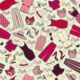 Vektorn pattren med kvinnors kläder Arkivbilder