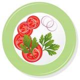 vektorn pläterar med tomater Arkivfoton