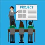 Vektorn - poserar av unga affärsmän, det vita brädet för presentationen Arkivbild