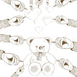 Vektorn räcker den utdragna björnen med hjärta Arkivfoto