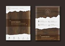 Vektorn rev sönder papper på textur av wood bakgrund stock illustrationer