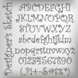 Vektorn skissade alfabet Fotografering för Bildbyråer