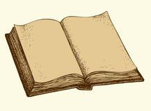 Vektorn skissar öppen bok royaltyfri illustrationer