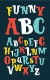 Vektorn skissar alfabet - olika färgbokstäver göras som en klottra Arkivbild