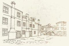 Vektorn skissar av arkitektur av den Burano ön, Venedig, Italien stock illustrationer