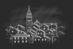 Vektorn skissar av arkitektur av Korcula stock illustrationer