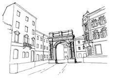 Vektorn skissar av arkitektur av Pula, Kroatien vektor illustrationer