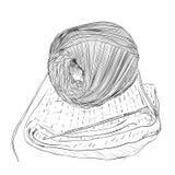 Vektorn skissar av den garnbollar, kroken och tröjan royaltyfri illustrationer