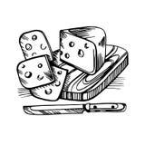 Vektorn skissar av designen för ostmatetiketten royaltyfri illustrationer