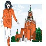 Vektorn skissar av det älskvärt danar flickan i Moscow vektor illustrationer