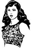 Vektorn skissar av en härlig flicka med brunetthår Royaltyfri Bild