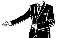 Vektorn skissar av en skyltdocka av män i en dräkt inviterar royaltyfria bilder