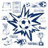 Vektorn skissar av fotbollbeståndsdelar Arkivfoto