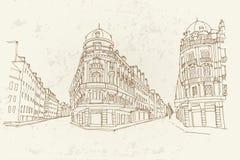 Vektorn skissar av gataplats i Frankrike arkivfoto