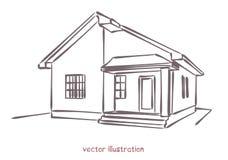 Vektorn skissar av individuellt hus stock illustrationer