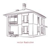 Vektorn skissar av individuellt hus vektor illustrationer