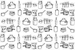 Vektorn skissar av köksgeråd i området av tapeten Royaltyfria Bilder